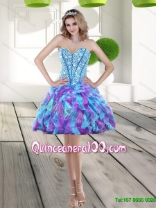 Elegant 2015 Beading and Ruffles Dama Dresses for Quinceanera Dress in Multi Color
