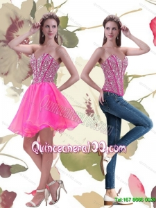 Exclusive 2015 Mini Length Hot Pink Dama Dresses for Quinceanera with Beading