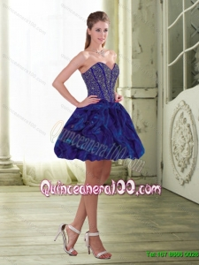 Exquisite Beading and Ruffles Mini Length Dama Dresses for Quinceanera