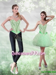 Romantic Beading and Ruffles Apple Green Dama Dresses for Quinceanera for 2015