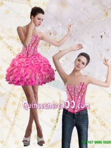 Wonderful 2015 Sweetheart Dama Dresses for Quinceanera with Beading and Ruffles