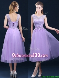 Beautiful See Through Laced and Applique Dama Dress in Tea Length