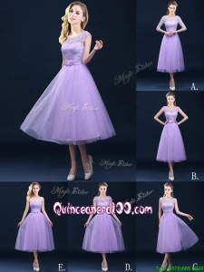 Exclusive A Line Tulle Lavender Dama Dress in Tea Length