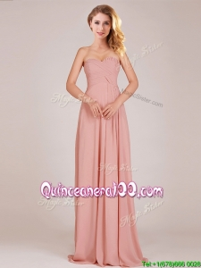 Fashionable Empire Chiffon Ruched Long Dama Dress in Peach