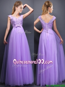 Lovely Beaded and Bowknot V Neck Dama Dress in Lavender