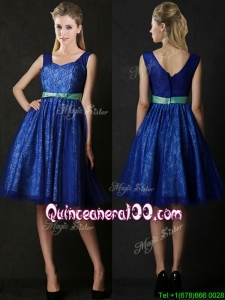 New Arrivals Belted and Laced Blue Dama Dress in Knee Length