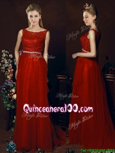 Popular Belted Empire Scoop Red Dama Dress with Brush Train