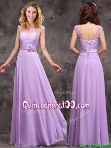 Popular See Through Applique and Laced Dama Dress in Lavender