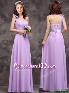 Pretty One Shoulder Lavender Dama Dress with Applique Decorated Waist