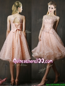 See Through Beaded and Applique Peach Dama Dress with Polka Dot