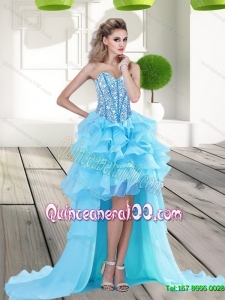 2015 Discount Aqua Blue High Low Dama Dresses with Beading and Ruffles