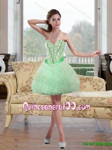 2015 Discount Beading and Ruffles Dama Dresses in Apple Green