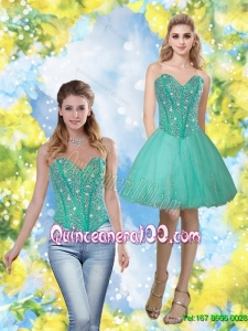 Discount 2015 Beading and Appliques Sweetheart Dama Dresses in Turquoise