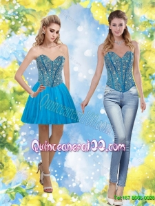 Discount 2015 Sweetheart Short Dama Dresses with Beading