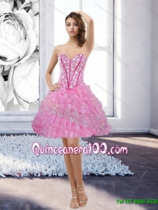 Discount Rose Pink Sweetheart 2015 Dama Dresses with Beading and Ruffles