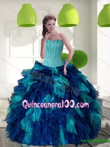 2015 Trendy Multi Color Quinceanera Dress with Beading and Ruffles