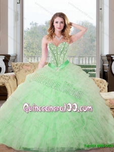 Trendy Beading and Ruffles Sweetheart 2015 Quinceanera Dresses in Apple Green