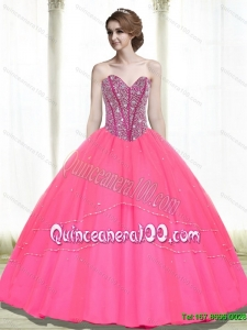 2015 Most Popular Ball Gown Beading Sweetheart Hot Pink Quinceanera Gowns