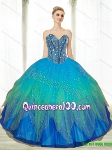 2015 Most Popular Beading Sweetheart Tulle Turquoise Quinceanera Gowns