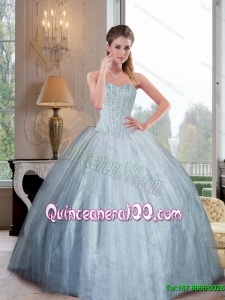 2015 Most Popular Sweetheart Ball Gown Quinceanera Gowns with Beading