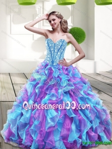 2015 New Arrival Sweetheart Multi Color Quinceanera Dresses with Beading and Ruffles