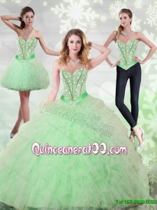 2015 Plus Size Beading and Ruffles Sweetheart Quinceanera Gown in Apple Green