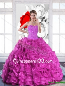 2015 Plus Size Sweetheart Quinceanera Gowns with Beading and Ruffles