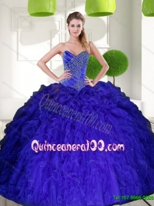 Most Popular Peacock Blue Sweetheart Beading Ball Gown Quinceanera Gowns with Ruffles