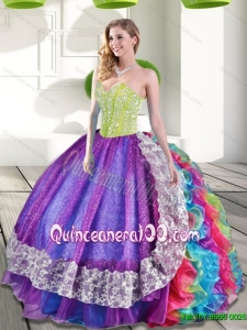 Plus Size Multi Color Sweetheart Beading and Ruffles 2015 Quinceanera Gowns