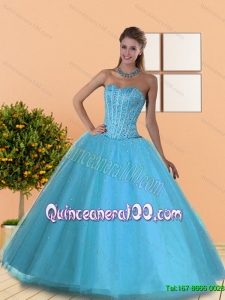 The Most Popular Beading Sweetheart Blue Quinceanera Gowns for 2015