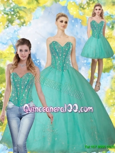 2015 Fashionable Beading and Appliques Turquoise Sweetheart Sweet 16 Dresses