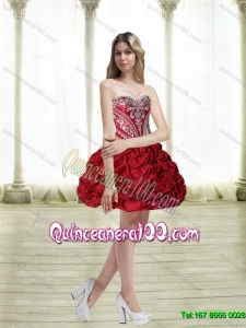 Discount Short Embroidery Wine Red Dama Dresses for 201