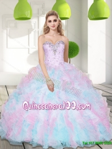 Most Popular Sweetheart Beading and Ruffles 2015 Quinceanera Gowns in Multi Color