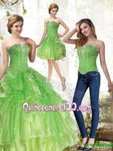 New Arrival Lime Green Quince Dresses with Beading and Ruffles