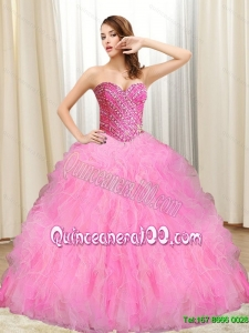 Plus Size Beading and Ruffles Quinceanera Gowns in Multi Color for 2015
