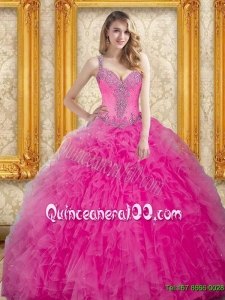 Plus Size Hot Pink Gowns for Quinceanera with Beading and Ruffles