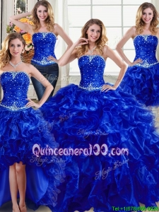 Elegant Organza Strapless Ruffled and Beaded Detachable Quinceanera Dresses in Royal Blue