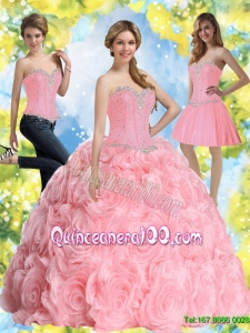 2015 Trendy Beading Baby Pink Quince Dresses