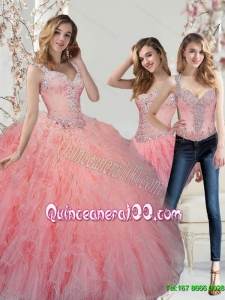 Trendy Beading and Ruffles Watermelon Quinceanera Dresses