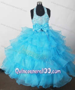 2013 Perfect Baby Blue Beading Little Girl Pageant Dresses With Bowknot and Ruffled Layers