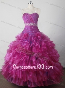 Gorgeous Beading and Ruffles Hand Made Flowers Little Girl Pageant Dress with Sweetheart