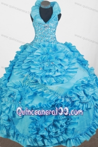 Luxurious Beading and Hand Made Flowers Ball Gown Little Gril Pageant Dress with Halter Top