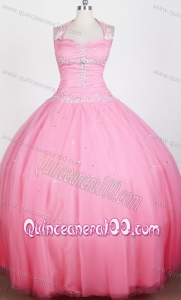 Rose Pink Beaded Decorate Bodice Ball Gown Halter Top Little Gril Pageant Dress