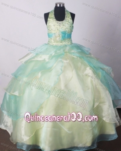 Yellow Green Little Girl Pageant Dresses With Beading and Hand Made Flower
