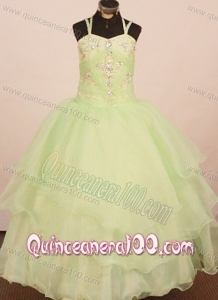 2013 Low price Little Girl Pageant Dress Ball Gown Yellow Green Straps With Yellow Green