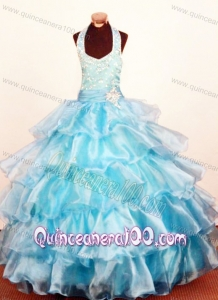 2013 Modest Baby Blue Ruffled Layeres Little Girl Pageant Dresses Halter Ball Gown Organza