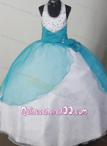 Beaded Decorate Lovely Halter Neckline Teal and White Flower Girl Pageant Dress