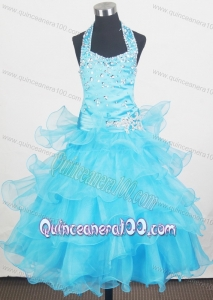 Beading Halter and Ruffled Layers Little Girl Pageant Dresses With Aqua Blue