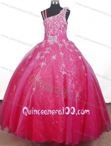 Brand New Beading Hand Made Flowers Ball Gown Straps Floor-length Little Gril Pageant Dress