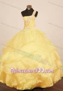 Custom Made Little Girl Pageant Dress One Shulder Neck Floor-Length Yellow Ball Gown